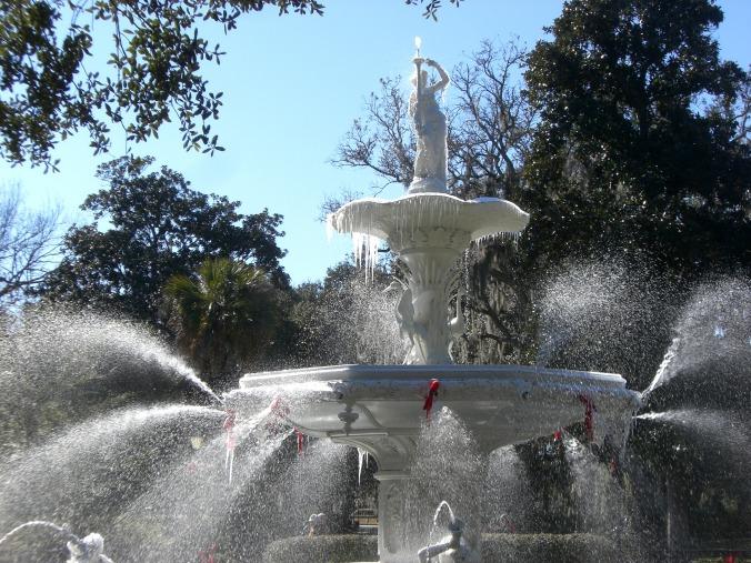 Frozen Forsyth Park Fountain, Savannah, Georgia