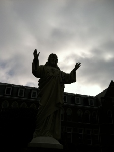 Jesus with Sacred Heart in front of Sacred Heart Monastery, Cullman, AL