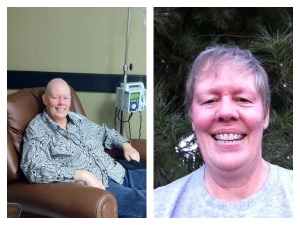 Last year at my last chemo and today after my walk