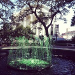 Green fountain in front of Christ Episcopal Church