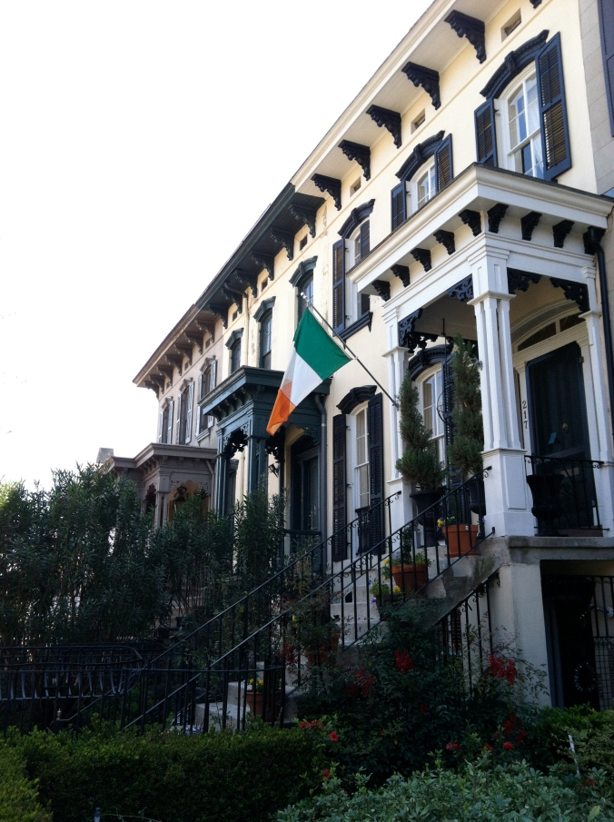 Lots of Irish flags flying in the city