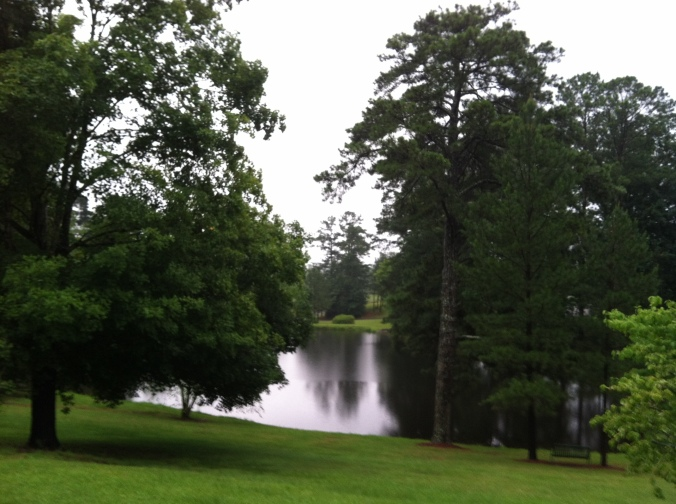 Rainy day lake from the porch of Benet Hall