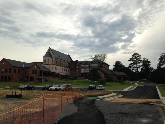View of the new dining hall and individual retreat rooms and new retreat center.  But the old chapel is still the focal point.