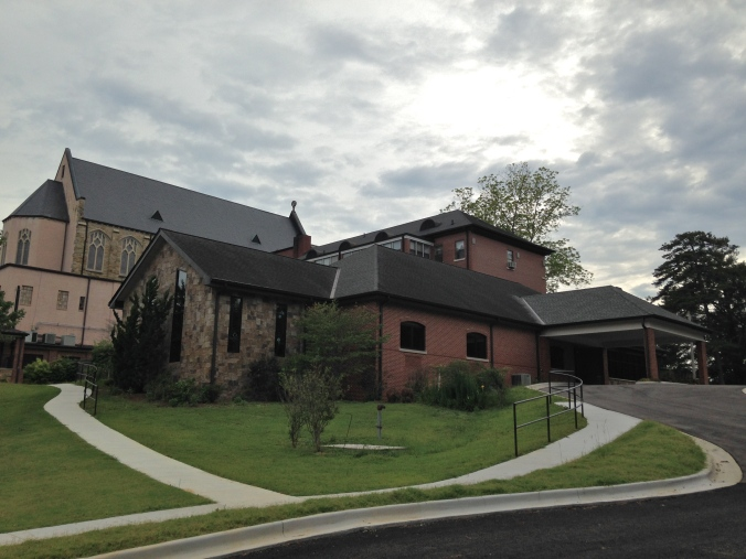 The new and the old.  On the left, the new chapel stands in front of the old chapel.