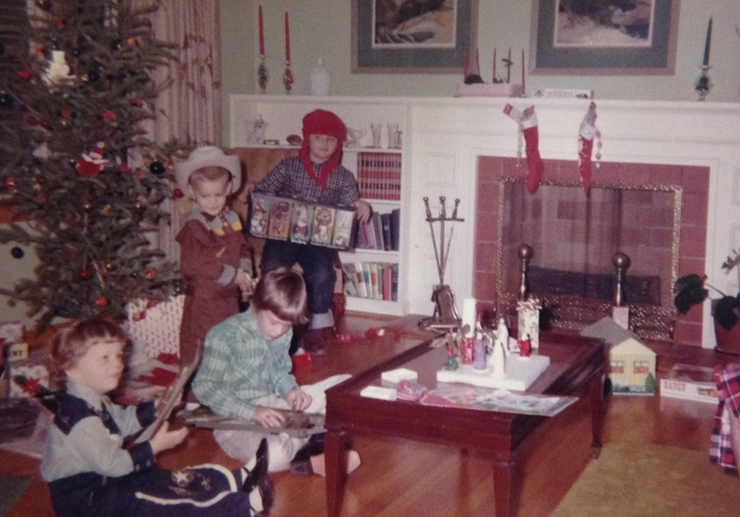 Cousins visit our house on Christmas Day 1964