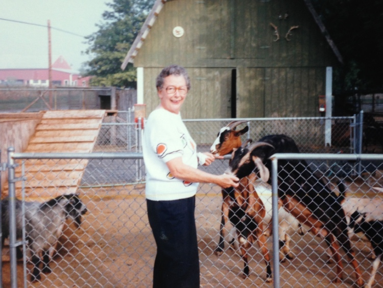 She liked animals a lot. Even old goats.